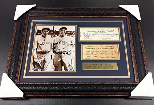 Babe Ruth Framed (BABE RUTH LOU GEHRIG Facsimile Signed Check REPRINT Framed 8x10 Photo YANKEES - Autographed MLB Photos)