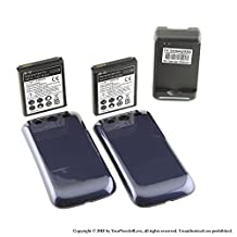 YN4L® 2x 4300mAh extended battery for Samsung Galaxy S3 i9300; i747; T999; L710 + Blue cover + Dock Charger