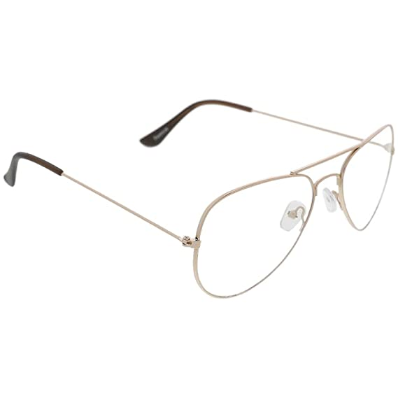 e83cef232072 Dervin Clear Lens Golden Frame Aviator Sunglasses for Men and Women   Amazon.in  Clothing   Accessories