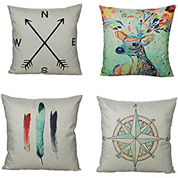 All Smiles Decorative Throw Pillow Covers Case Cushion Home Decor 18 X 18  Set Of 4 Cotton Linen For Farmhouse Couch Sofa Bed Room,Deer  Antlers,Navigation ...