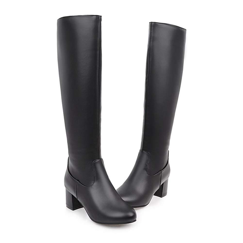 Qianliuk Hohe Stiefeletten Damen Mode Mode Mode Kniehohe Schuhe Warme Plüsch Winter Reitstiefel Mädchen Kühlen Motorradstiefel Für Outdoor-Sport aad83e