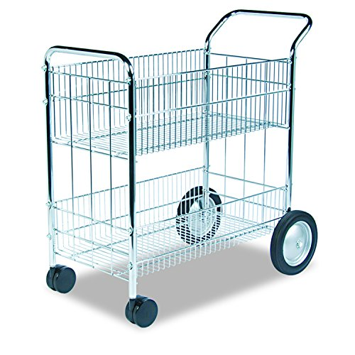 Basket Carts Wire - Fellowes 40912 Wire Mail Cart, 21-1/2w x 37-1/2d x 39-1/4h, Chrome