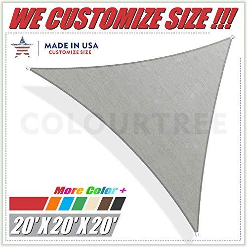 (ColourTree 20' x 20' x 20' Grey Sun Shade Sail Square Canopy – UV Resistant Heavy Duty Commercial Grade -We Make Custom Size)