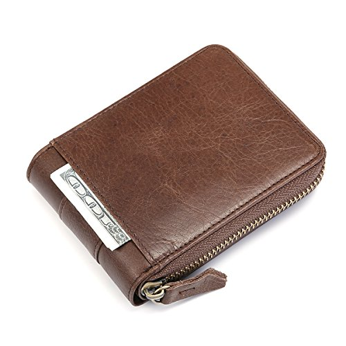 Mens Leather Wallet,E Ekphero Zipper Card Holder RFID Blocking Wallet Coins Purse by E Ekphero (Image #6)