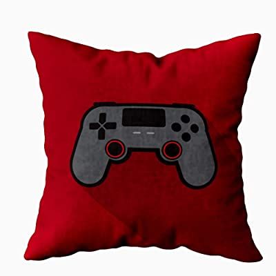 Fullentiart Soft Pillow Covers, Controller Gaming Color Icon Red Background Popular Skin-Friendly Fade Wrinkle Resistant and Easy to Wash 16X16Inches: Home & Kitchen