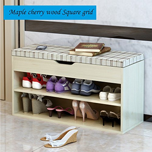 Plank Table Cherry (FKUO Bench Double-layer storage cabinet Shoe Organizer Storage Shelf Holds Up to 150KG Ideal for Entryway Hallway Bathroom Living Room and Corridor (803045cm, Maple Cherry wood Square grid))