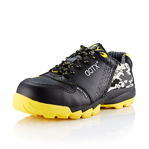 DDTX S1P Men's Athletic Work Shoes Lightweight Composite Toe Safety Shoes Black (9.5)