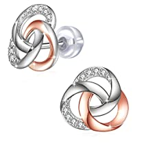 Earrings, 925 Sterling Silver Cubic Zirconia Stud Earrings J.Rosée Fine Jewelry for Women Mothers Day Gift Spiral Galaxy Best Gift for Mom Wife Girlfriend with Exquisite Package