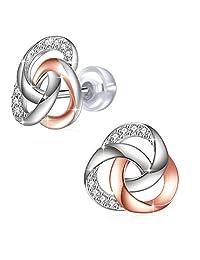 Silver Earrings, J.Rosée Jewellery 925 Sterling Silver 5A Cubic Zirconia
