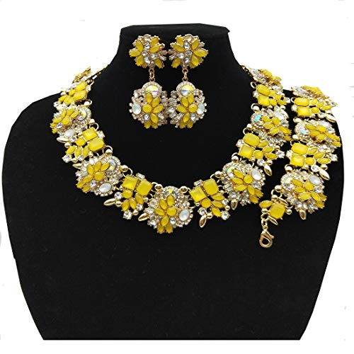 Bib Yellow Necklace - NABROJ Women Vintage Statement Necklace Bracelet Earrings Set Yellow, Bib Necklace for Women Novelty Jewelry 1pc with Gift Box-HLN001 Yellow 3pcs Set