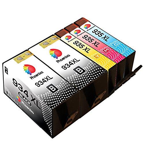 High Capacity Print Cart (Phoenixa 5 Combo Pack Ink Cartridges compatible for HP 934 xl 934xl HP 935 xl 935xl with HP officejet pro 6830 6835 6230 6815 6812 printers (2x Black, 1x Cyan, 1x Magenta, 1x Yellow))