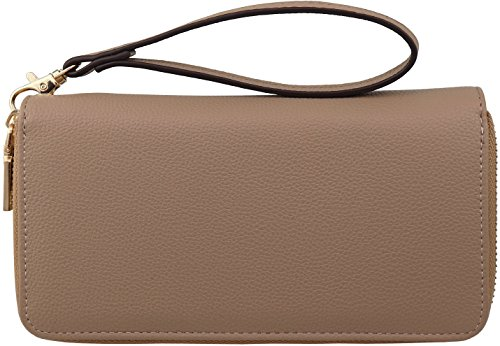 B BRENTANO Vegan Double-Zipper Wallet Clutch with Removable Wrist Strap (Nude)