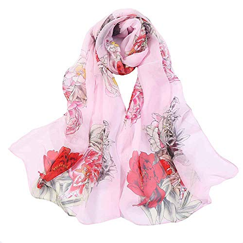 Print Silk Feeling Scarf Fashion Scarves Lightweight Shawl Scarf Sunscreen Shawls for Womens (Rose Pink)