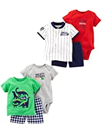 Baby Boys' 6-Piece Bodysuit Tee and Short Set