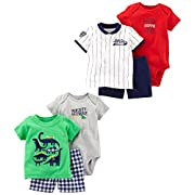 Carter's Baby Boys' 6-Piece Bodysuit Tee and Short Set, Green Dino/Stripe Allstar, Newborn