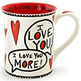 Enesco 4056352 Love You Most Stoneware Mug, 16 oz, Red