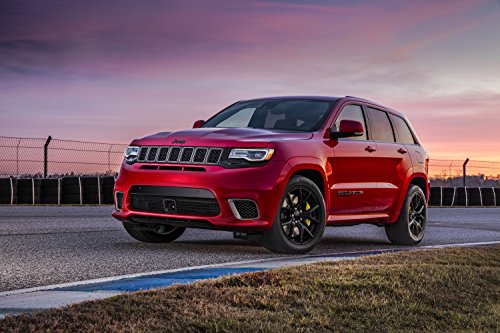 Jeep Grand Cherokee Trackhawk (2018) Car Print on 10 Mil Archival Satin Paper Red Front Side Static View - Canada To Shipping Usps From Us