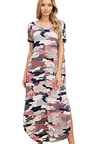 Annabelle Women's Camo Puff Knit Print Curved Hemline Short Foldover Sleeve Midi Knit Dress Mauve Small D5413