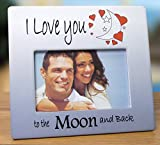 I Love You to the Moon and Back Picture Frame - Red Hearts with Saying on Blue & White Ceramic Frame - Anniversary Gift - Valentine's Day Gift for Her - For 4x6 Inch Photo