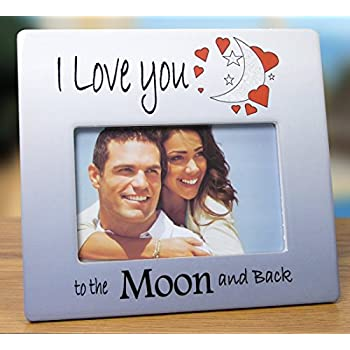 i love you to the moon and back picture frame red hearts with saying on blue white ceramic frame anniversary gift valentines day gift for her for
