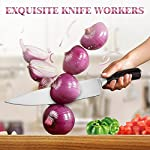 Chef Knife, Koncle 8 Inches Japanese High Carbon Stainless Steel Kitchen Knife with Sharp Blade, Ergonomic Handle, Pro Chef's Knife for Cutting, Chopping, Slicing, Carving, Mincing, Gift Box 14 Please carefully note our brand [Koncle] & our Amazon store name [Istyle Shop], any other stores selling our products are not authorized and are counterfeit with quality problems, we are not responsible! [Sharp stainless steel blade] Made out of 7CR17MOV stainless steel, which has high rust resistance. Chef knife also use of 16-18% chrome in the blade's metal composition, this can maintain a good brightness. The blade's razor sharp edge will allow you to cut your food effortlessly for a long time due to its excellent edge retention. [Multipurpose cooking knife] Versatile chef's knife is designed for chopping, mincing, slicing, and dicing with razor sharp, laser-tested, tapered knife edge is ground to form an exacting angle, to hold a sharp edge longer and ensure maximum cutting performance and durability.
