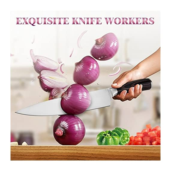 Chef Knife, Koncle 8 Inches Japanese High Carbon Stainless Steel Kitchen Knife with Sharp Blade, Ergonomic Handle, Pro Chef's Knife for Cutting, Chopping, Slicing, Carving, Mincing, Gift Box 5 Please carefully note our brand [Koncle] & our Amazon store name [Istyle Shop], any other stores selling our products are not authorized and are counterfeit with quality problems, we are not responsible! [Sharp stainless steel blade] Made out of 7CR17MOV stainless steel, which has high rust resistance. Chef knife also use of 16-18% chrome in the blade's metal composition, this can maintain a good brightness. The blade's razor sharp edge will allow you to cut your food effortlessly for a long time due to its excellent edge retention. [Multipurpose cooking knife] Versatile chef's knife is designed for chopping, mincing, slicing, and dicing with razor sharp, laser-tested, tapered knife edge is ground to form an exacting angle, to hold a sharp edge longer and ensure maximum cutting performance and durability.