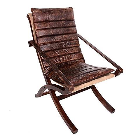 Hogar Decora - Sillon Piel Madera 57x75x95 CM: Amazon.es: Hogar