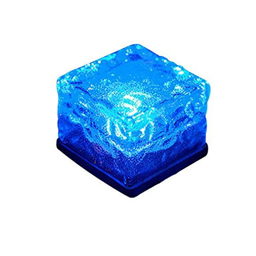 (Solar Power LED Color Changing Light Outdoor Waterproof Faceted Crystal Glass Ice Brick Lawn Yard Path Road Garden Decoration Safety)