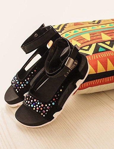 LFNLYX Zapatos de mujer-Plataforma-Creepers / Punta Redonda / Punta Abierta-Sandalias-Vestido-Microfibra-Negro Black