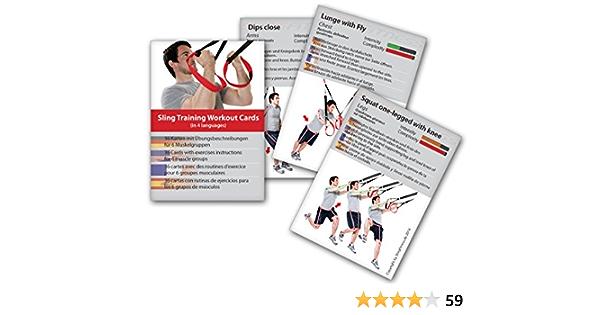 Variosling® Cartas de Entrenamiento en Suspensión con 54 Ejercicios | Plan/Rutina/instrucción del Entrenamiento Funcional/Muscular | Juego de Naipes ...