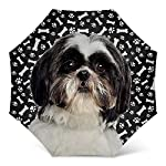 Design Dog Paws Umbrella With Black Shih Tzu Dog Pattern Print - Windproof Travel Folding Umbrella Golf Umbrella - Great Dog Mom Gifts