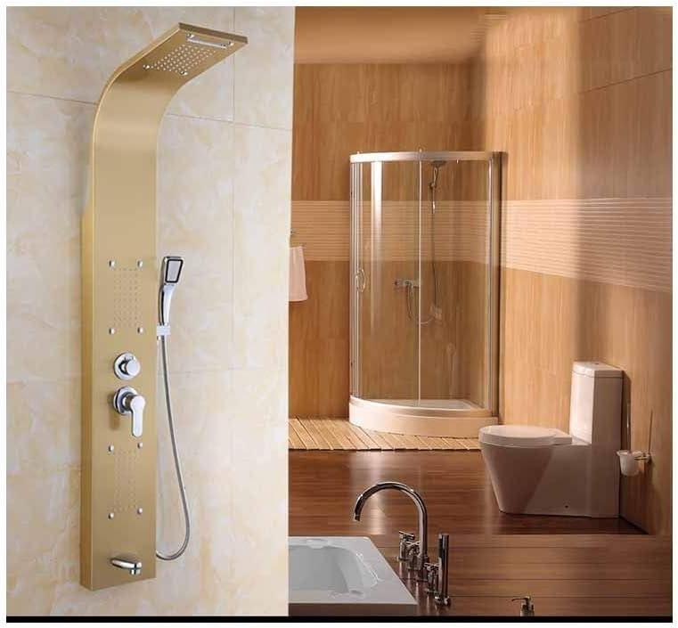 Cabeza de Ducha Juego de ducha inteligente de 5 modos de mampara de ducha de acero inoxidable para el hogar 304, dorado: Amazon.es: Bricolaje y herramientas