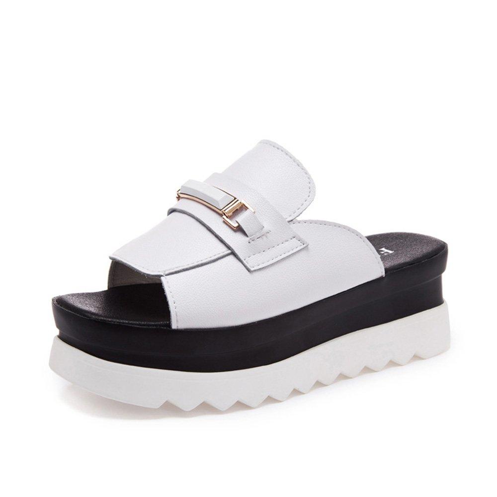 ZZHF Pantofole moda estate a tacco alto All'aperto indossare pantofole da tavolo impermeabile scarpe spesse Pendenza con pantofole (2 colori opzionali) (misura opzionale) ( Colore : Bianca , dimensioni : 36 )Bianca