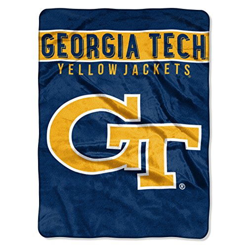 Officially Licensed NCAA Georgia Tech Yellow Jackets Basic Plush Raschel Throw Blanket, 60