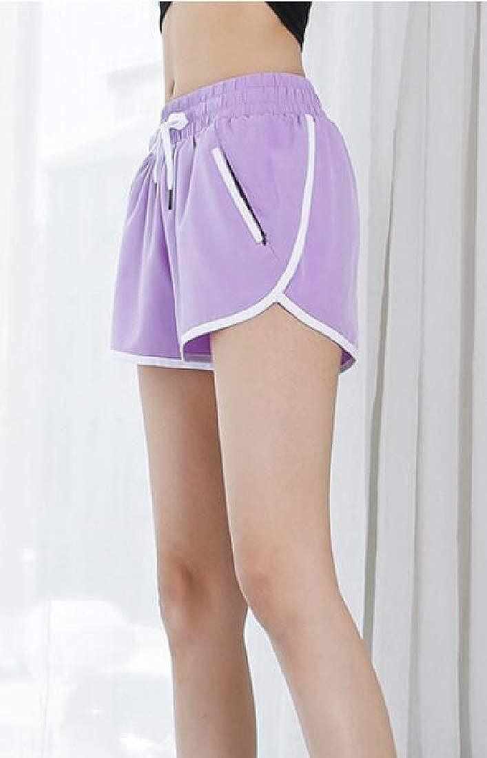 Etecredpow Women Elastic Waist Drawstring Solid Athletic Short