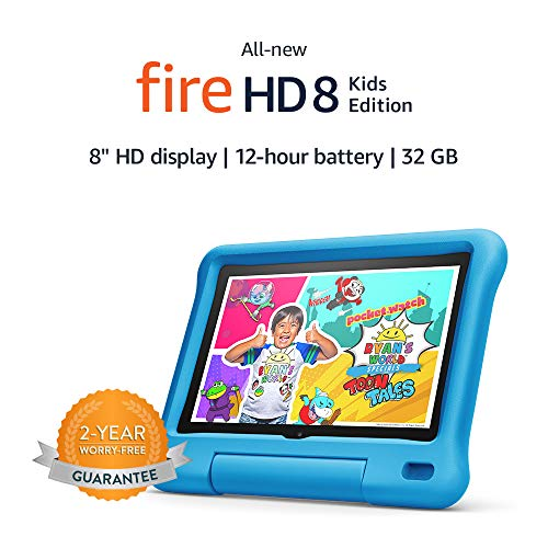 """Fire HD 8 Kids tablet, 8"""" HD display, ages 3-7, 32 GB, Blue Kid-Proof Case"""