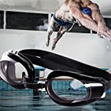 Black Nose Clip + Ear Plug + Anti fog UV Swimming Swim Goggle Adjustable Glasses
