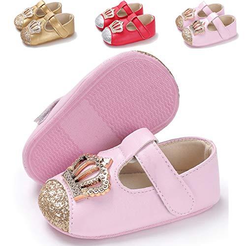 BENHERO Baby Infant Girls Soft Sole Floral Princess Mary Jane Shoes Prewalker Wedding Dress Shoes (6-12 Months M US Infant), H-Pink]()