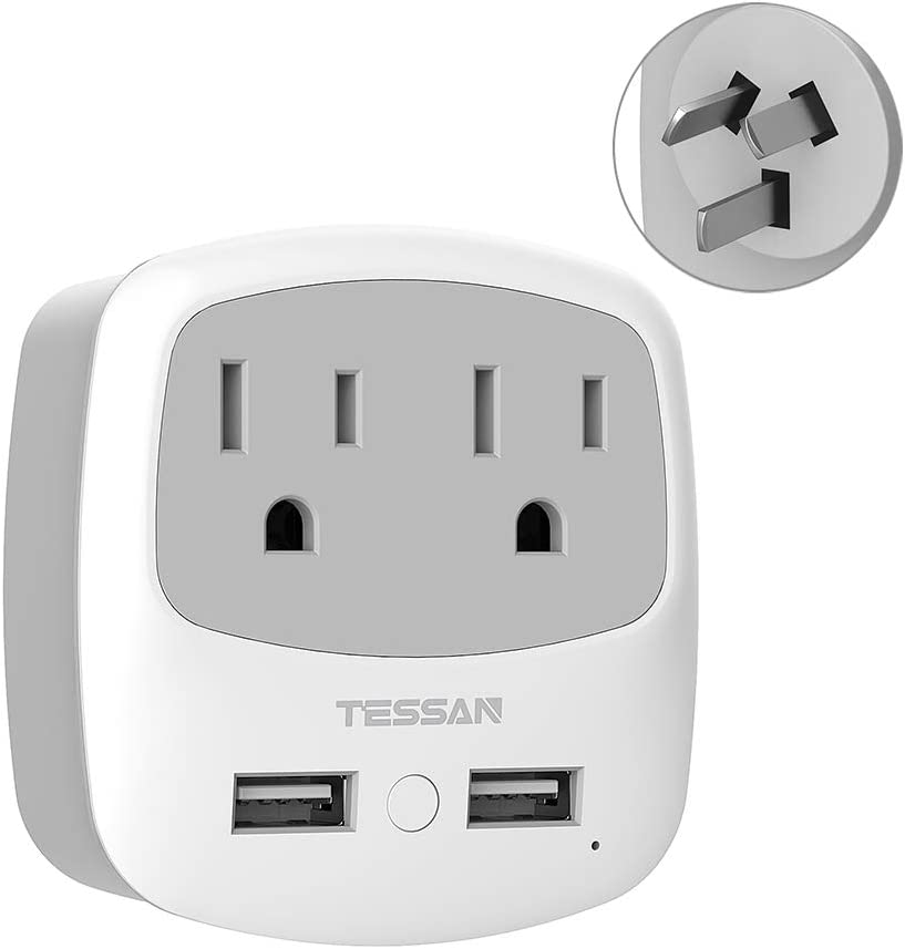 China Australia New Zealand Power Plug Adapter, TESSAN Type I Travel Adaptor with 2 USB Ports 2 American Outlets, US to Australian AU Fiji Argentina Charger Adapter