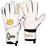 FitsT4 Goalie Goalkeeper Gloves with Fingersaves & Super Grip Palms Soccer Goalkeeper Gloves for Youth, Adult