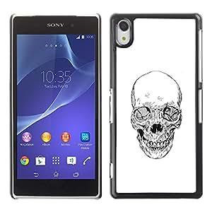 iBinBang / Funda Carcasa Cover Skin Case - Skull Death Biker Gang White Pencil - Sony Xperia Z2 D6502 D6503 D6543 L50t L50u