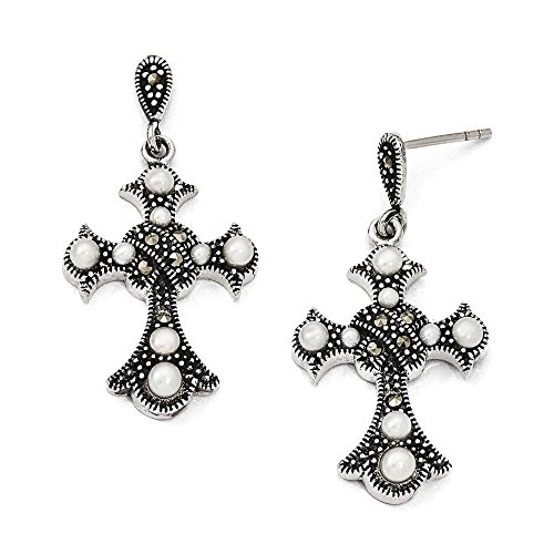 - Sterling Silver Marcasite and Freshwater Cultured Pearl Cross Earrings 35x18 mm