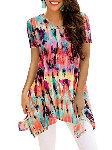 BOCOTUBE Womens Short Sleeve Irregular Hem Printed Blouse Loose T-Shirt Tunic Tops