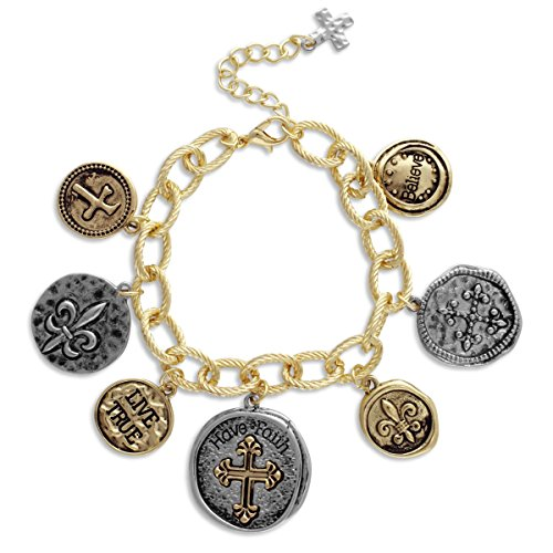 Cross Link Jewelry (Textured Link Charm Bracelet with Two Tone Coins Faith, Cross, Fleur de Lis)