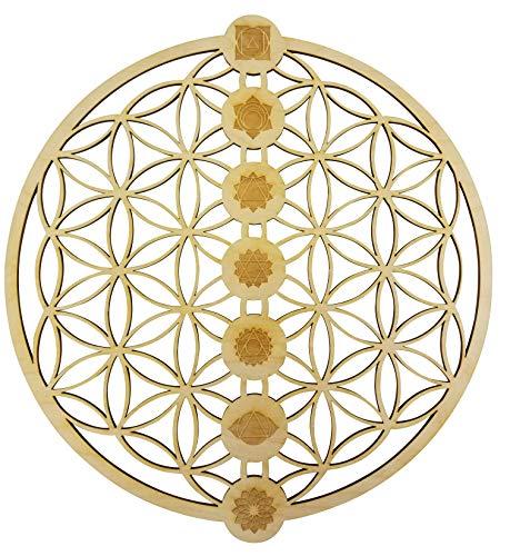 "12"" Flower of Life Chakras Wall Art   12"" Diameter - 1/8"" Thick   Wooden Wall Art, Crystal Grid, Chakra, Zen Wall Art, Wooden Art, Wooden Wall Art Decor   Sacred Geometry Art, Geometry Art"