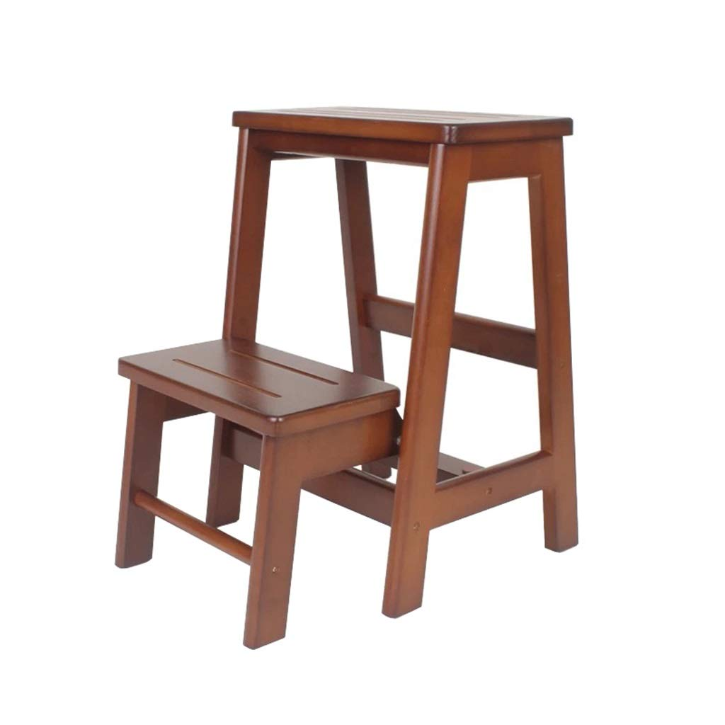 Taburete de paso Escalera plegable de madera de 2 niveles ...