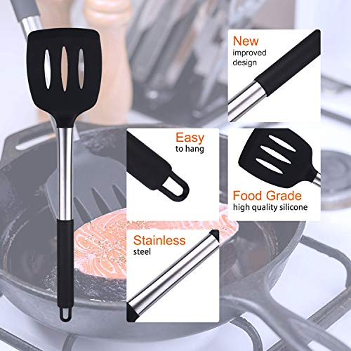 13 pcs Set Silicone Kitchen Utensil Set, Cooking Utensils with Stainless Steel Handle, Heat Resistant and Non-stick (Black)
