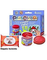 Gonzoo Temperas de Dedos 6 Colores Instant - Playcolor con toallitas de Manos