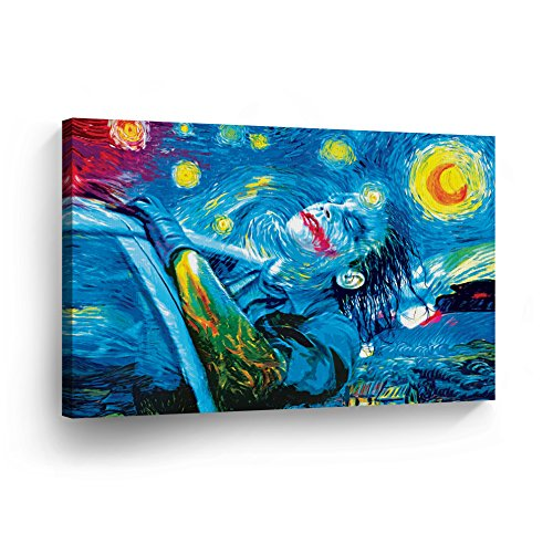Joker Van Gogh Oil Paint Starry Night Decorative Art Canvas Print Modern Wall Décor Artwork Wrapped Wood Stretcher Bars Vertical- Ready to Hang – %100…