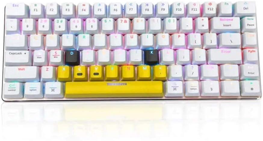 Rnwen Mechanical Keyboard Keyboard Mechanical Keyboard 82 Keys RGB Backlit Bluetooth USB Wired Gaming Keyboards Color : White, Size : ONE Size